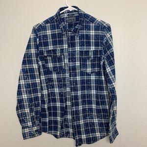 American Rag CIE Men S Blue Plaid Shirt Distressed